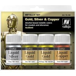 Zestaw Metallic 4 farby  Gold, Silver, Copper Vallejo