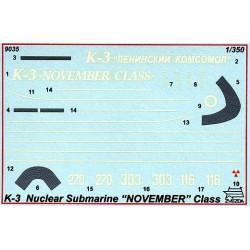 Zvezda 9035 1:350 K-3 Nuclear Submarine November Class