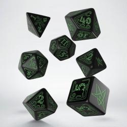 Kości RPG Zew Cthulhu Czarno-zielone