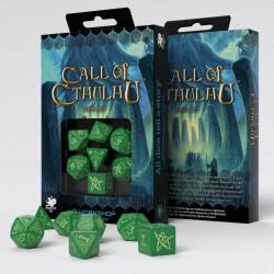 Kości RPG Zew Cthulhu Zielone-fosforyzujące