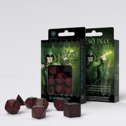 Kości RPG Elfickie Czarno-czerwone
