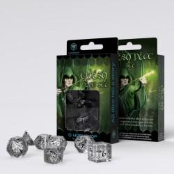 Kości RPG Elfickie Przejrzysto-czarne