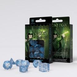 Kości RPG Elfickie Przejrzysto-niebieskie