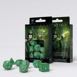 Kości RPG Elfickie Zielono-białe