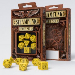 Kości RPG Steampunk Żółto-czarne