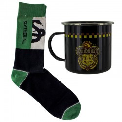 HARRY POTTER - Slytherin Quidditch Tin Mug and Socks Set