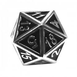 Komplet kości REBEL RPG Metal Tłoczona chromowana czerń