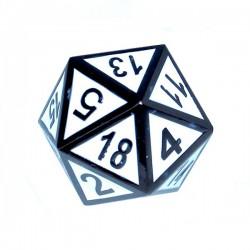 Komplet kości REBEL RPG Metal Tłoczona obsydianowa biel