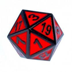 Komplet kości REBEL RPG Metal Tłoczona obsydianowa czerwień