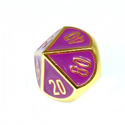 Komplet kości REBEL RPG Metal Tłoczona złocona purpura