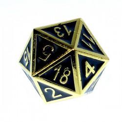Komplet kości REBEL RPG Metal Tłoczona złocona czerń