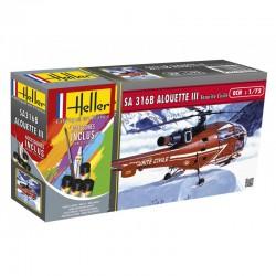 Heller 56289 1:72 Starter Set Alouette III Sécurité Civile