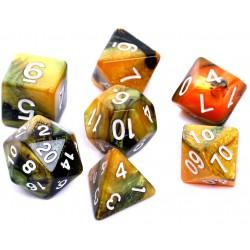 Komplet kości REBEL RPG Dwukolorowe Czarno-złote