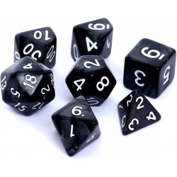 Komplet kości REBEL RPG Perłowe - Czarne
